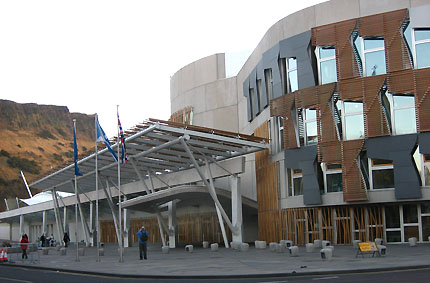 Scottish Parliament from foot of Royal Mile